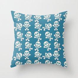 Blue seamless background. Skull and bones. Pirates. Throw Pillow