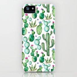 Watercolor Cactus Pattern iPhone Case