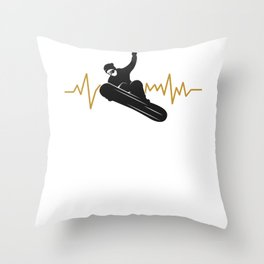 Snowboarder, Snowboarding - with an EKG Heartbeat Throw Pillow