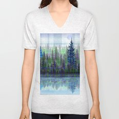 Nature Reflected Plaid Pine Forest Unisex V-Neck