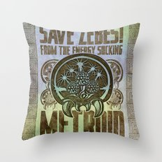 Save Zebes! Metroid Geek Art Vintage Poster Throw Pillow