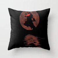 street fighter Throw Pillows featuring Bloodmoon Akuma, Street Fighter by Thorn Blackstar