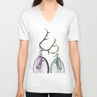 bicycles V-neck T-shirts featuring Bicycles in Love by Wyatt Design