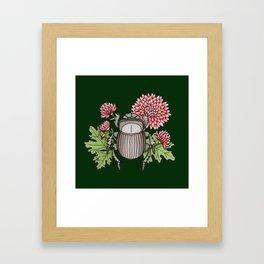 Beetle with Chrysanthemum - Dark Green Framed Art Print