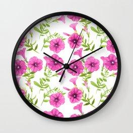 Petunia flowers pattern Wall Clock