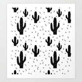 Cactuses abstract modern print simple Art Print