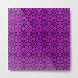 Dazzling Violet Floral Pattern Metal Print