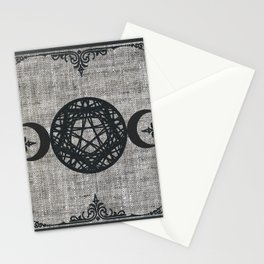 Black Magic Triple Moon Pentagram Star Stationery Cards