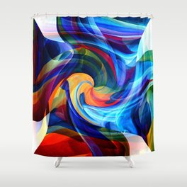 This Kiss Digital Abstract Art By Annie Zeno Shower Curtain