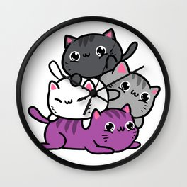 Meowtain Asexual Pride Wall Clock
