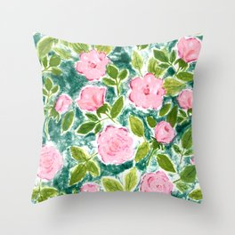 Roses in Bloom Throw Pillow