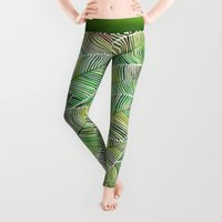 bianca green Leggings featuring Tropical Green by Cat Coquillette