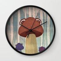 mushroom Wall Clocks featuring mushroom by Zuhal Arslan