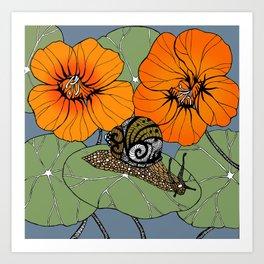 Snail on Nasturtiums Art Print
