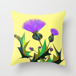 Kentucky Wildflower, Silybum Marianum Throw Pillow