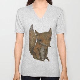 Little Red Fox Unisex V-Neck