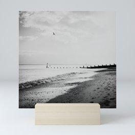 black and white Southwold beach photograph Mini Art Print