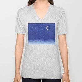 Follow the moon, watercolor blue ocean sea sailboat Unisex V-Neck