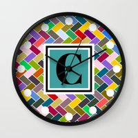 monogram Wall Clocks featuring C Monogram by mailboxdisco