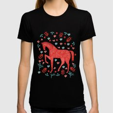 The Red Horse Black MEDIUM Womens Fitted Tee