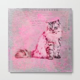 Cute Cat Pink Mixed Media Art Metal Print