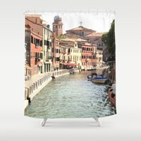 venice Shower Curtains featuring Venice by Rachael Snow