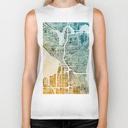 Seattle Washington Street Map Biker Tank