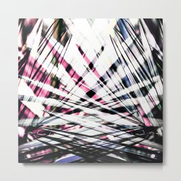 Abstract Tropical Black and Pink Jungle Leaves Metal Print