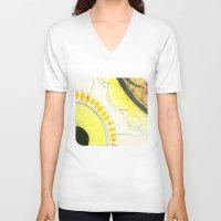 kitchen V-neck T-shirts featuring Kitchen Flowers  by Ethna Gillespie
