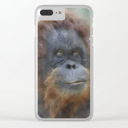 WColor Orang Utan 1 Clear iPhone Case