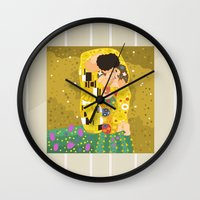 gustav klimt Wall Clocks featuring The Kiss (Lovers) by Gustav Klimt  by Alapapaju
