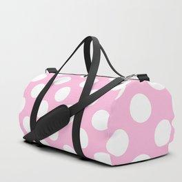 White polkadots dots polkadot circles on pink Duffle Bag