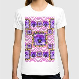 PINK & PURPLE PANSY ART ABSTRACT  PATTERN T-shirt