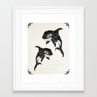 orca Framed Art Prints featuring orca by Manoou