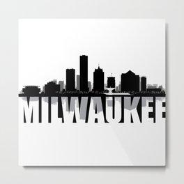 Milwaukee Silhouette Skyline Metal Print