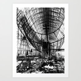 Airship under construction Art Print
