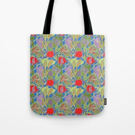 Seven Species Botanical Fruit and Grain with Blue Background Tote Bag