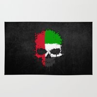 arab Area & Throw Rugs featuring Flag of United Arab Emirates on a Chaotic Splatter Skull by Jeff Bartels