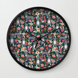 Pit Bull Terrier florals must have dog art pet friendly gifts for pit bull owners cute illustration  Wall Clock