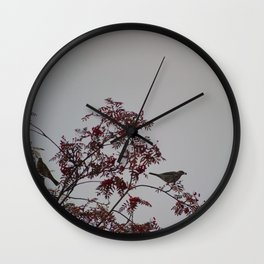 Birds on rowan tree Wall Clock