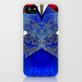 Royalty Inspired Blue Red Gold Abstract iPhone Case