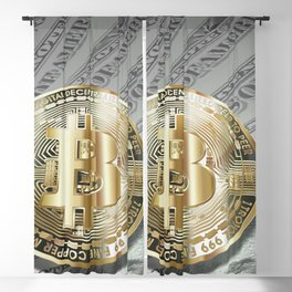 Bitcoin with dollar bills, cryptocurrency concept Blackout Curtain