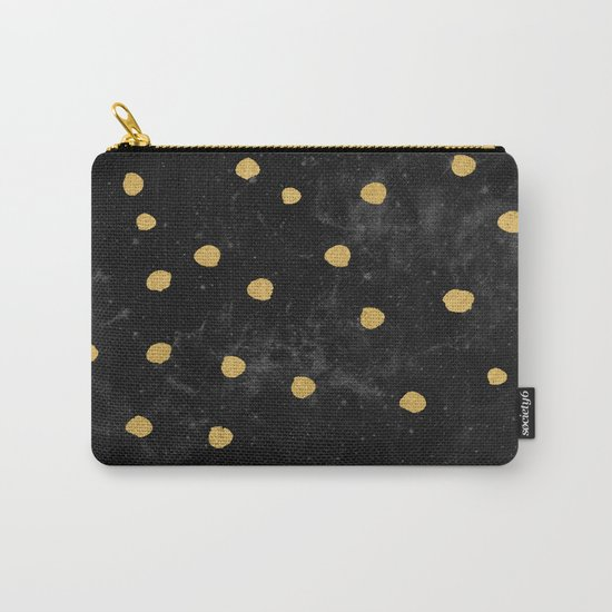 Gold Dots on Black Space Pattern Carry-All Pouch