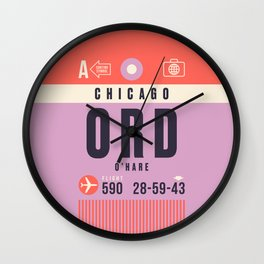 Baggage Tag A - ORD Chicago O'Hare USA Wall Clock