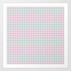 Gingham pink and forest green Art Print