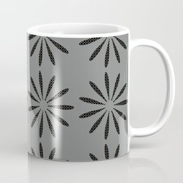 Abstract Dotted Flowers Pattern Grey Coffee Mug