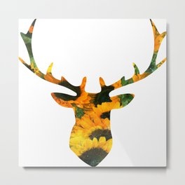 Deer Head with Sunflowers Metal Print