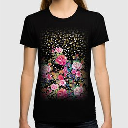 Modern watercolor spring floral and gold dots pattern T-shirt