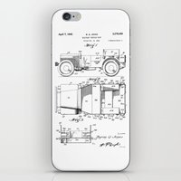 jeep iPhone & iPod Skins featuring Jeep: Byron Q. Jones Original Jeep Patent by Elegant Chaos Gallery