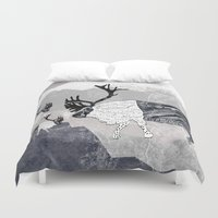 nordic Duvet Covers featuring Nordic Reindeer by Pencil Studio